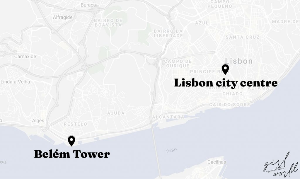 Map of lisbon with Belem Tower and Lisbon City Centre marked on the map