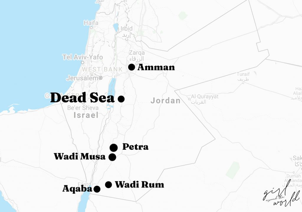Map of Jordan with the Dead Sea location marked