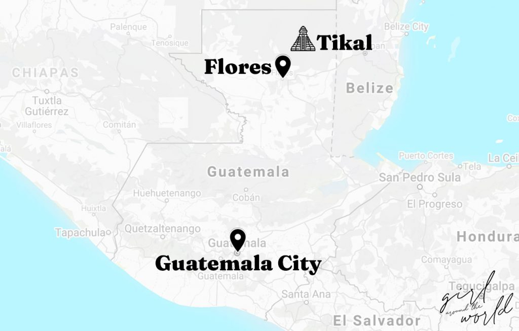 Map of Guatemala with Tikal, Flores and Guatemala City marked on the map