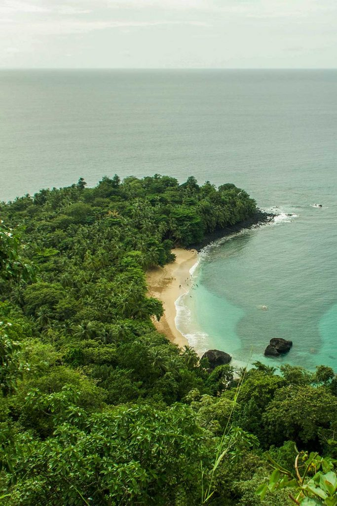 photo from above of banana beach in principe