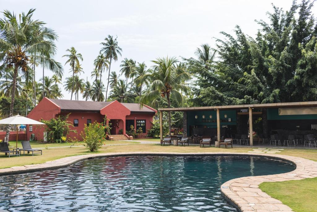 Pool and main house at Omali Lodge in Sao Tome and Principe
