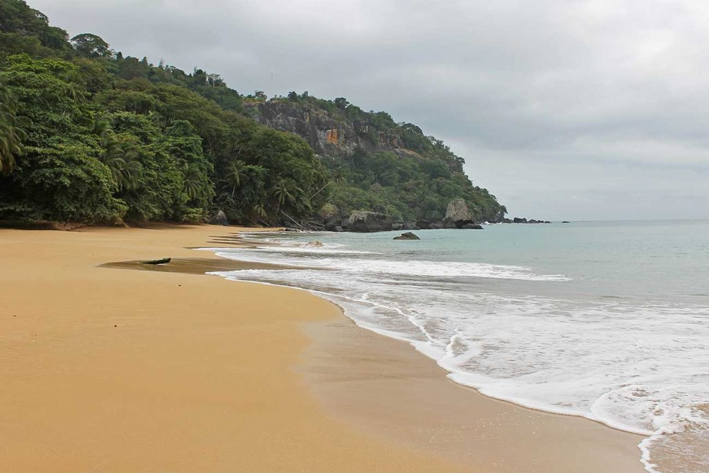 remote beach of Praia Macaco in Principe