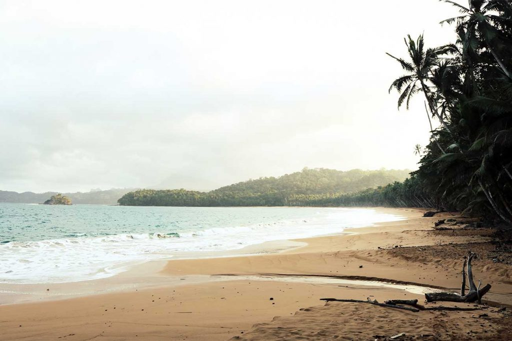 completely empty beach at praia micondo in sao tome