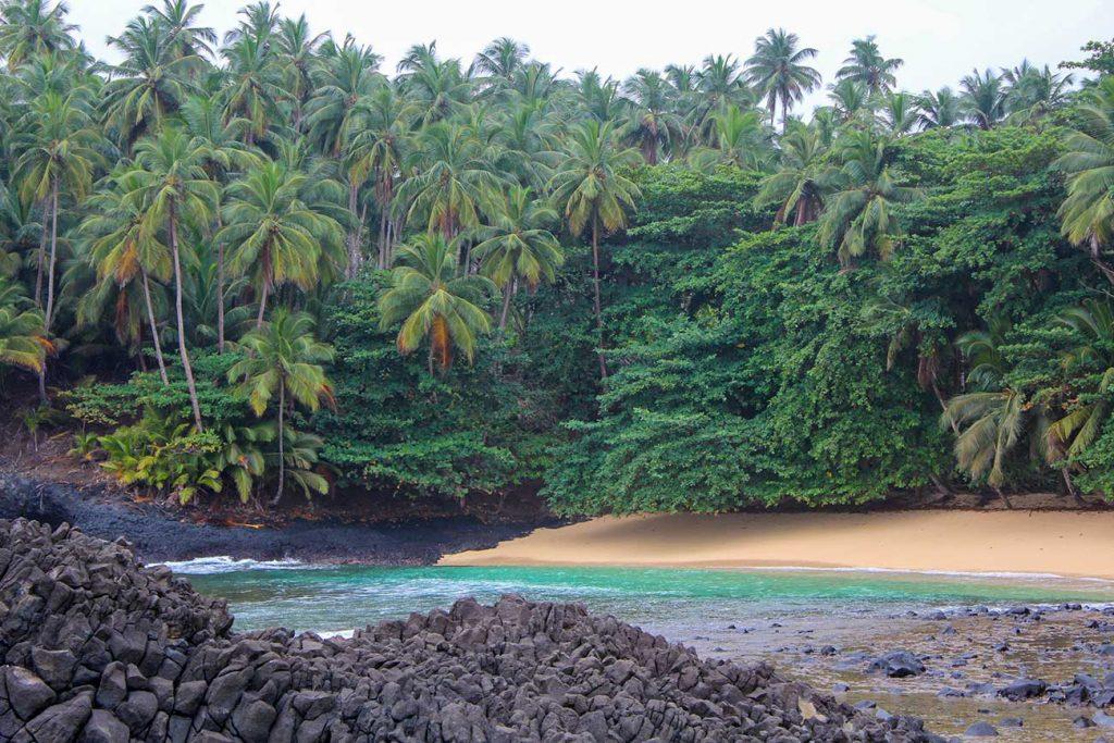 Landscape of Praia Piscina in Sao Tome