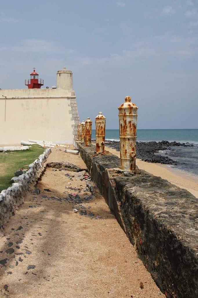 sidewalk leading to Sao Sebastiao Fortress in Sao Tome