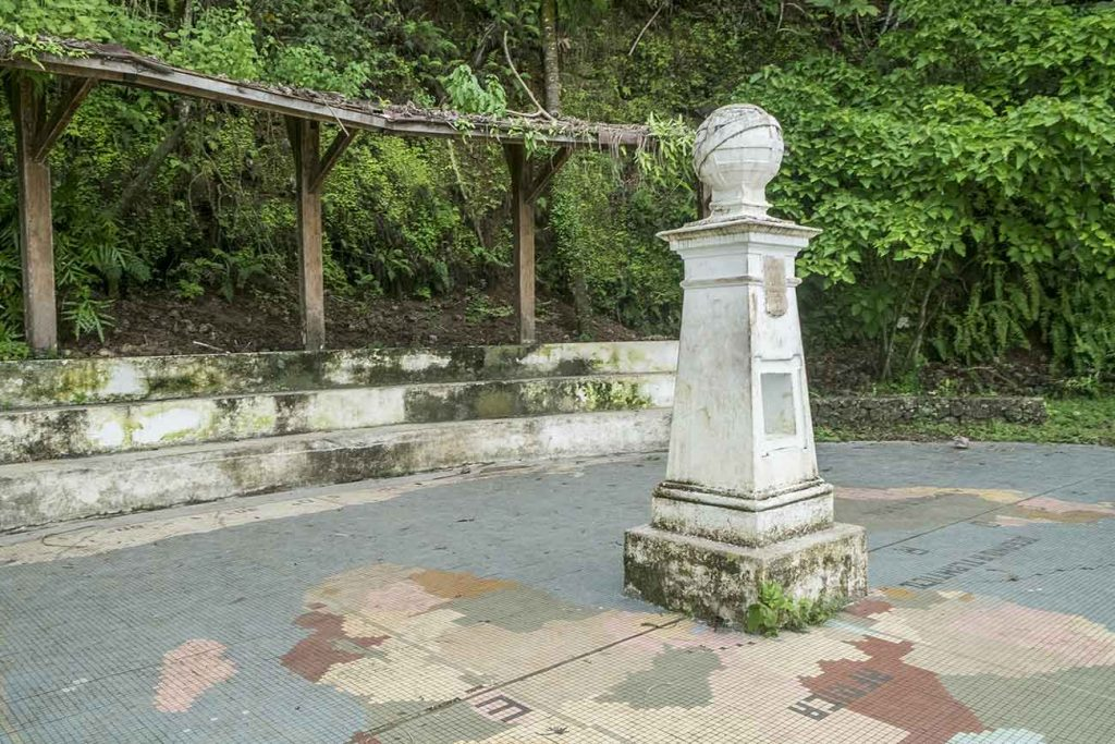 monument that marks the equator line at rolas islet in Sao Tome and Principe