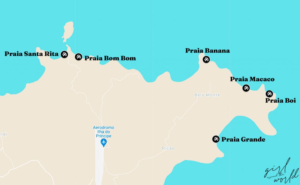 map with the location of the best beaches in principe marked