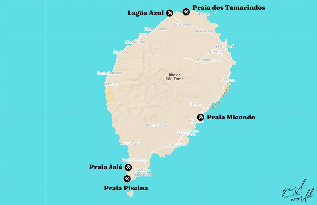 Map with the location of the best beaches in Sao Tome marked