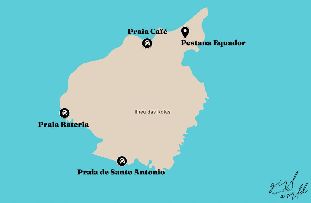 map of the best beaches on Rolas Islet near Sao Tome