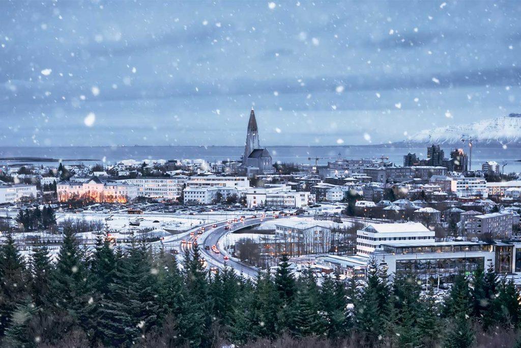 snowy landscape of Reykjavik's city centre
