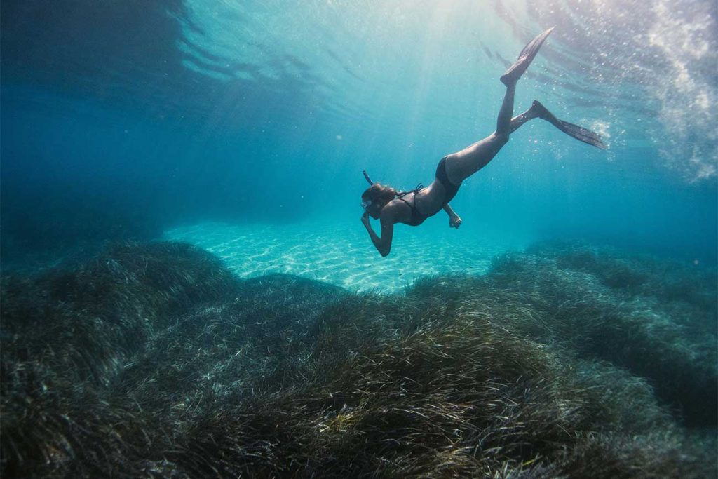 Person diving underwater while snorkeling in Sao Tome and Prinicpe