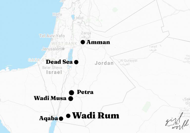 Map of Jordan with the Wadi Rum Desert marked